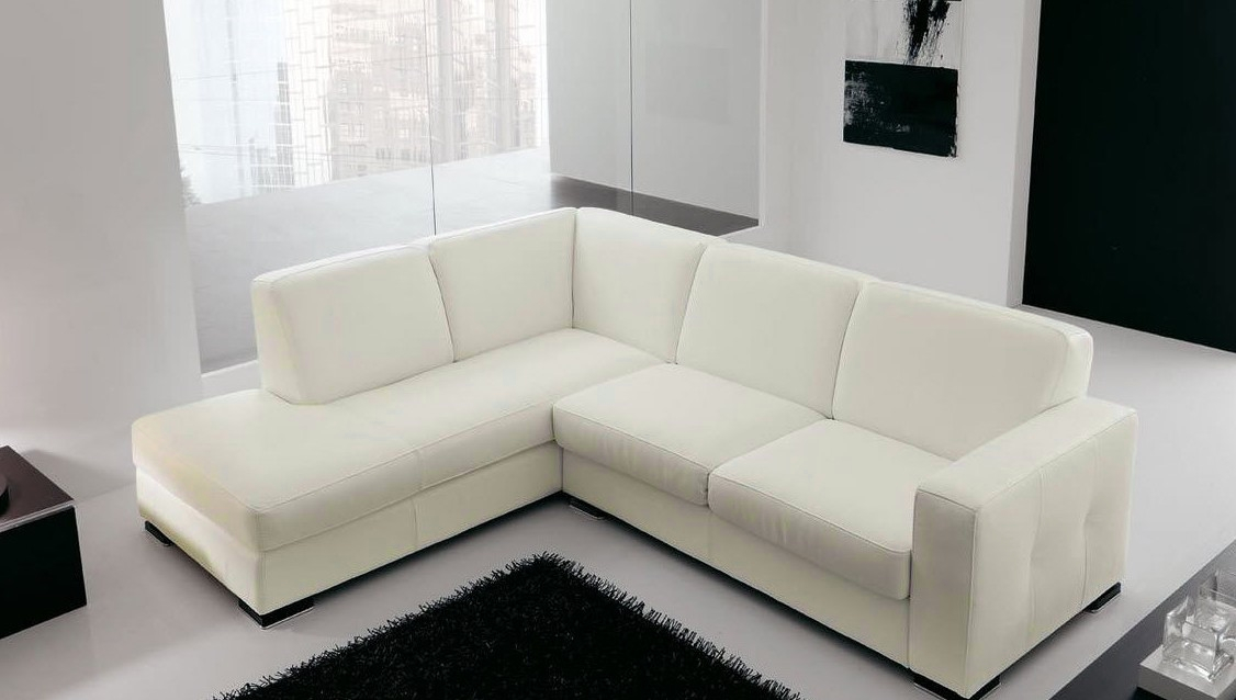 Canapé angle en simili cuir vachette blanc