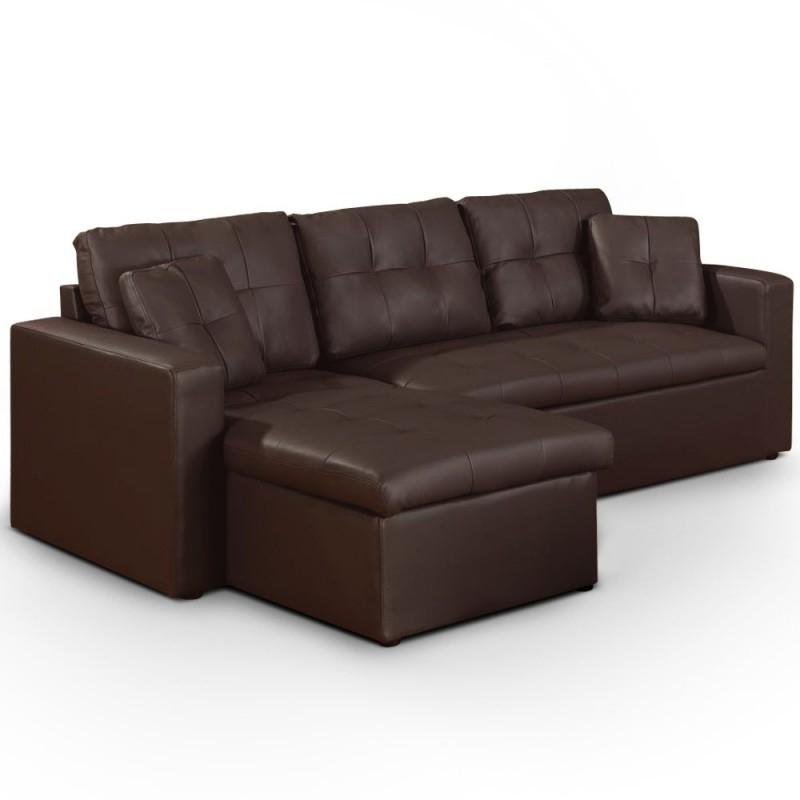 Canapé d angle convertible simili cuir marron Cuba