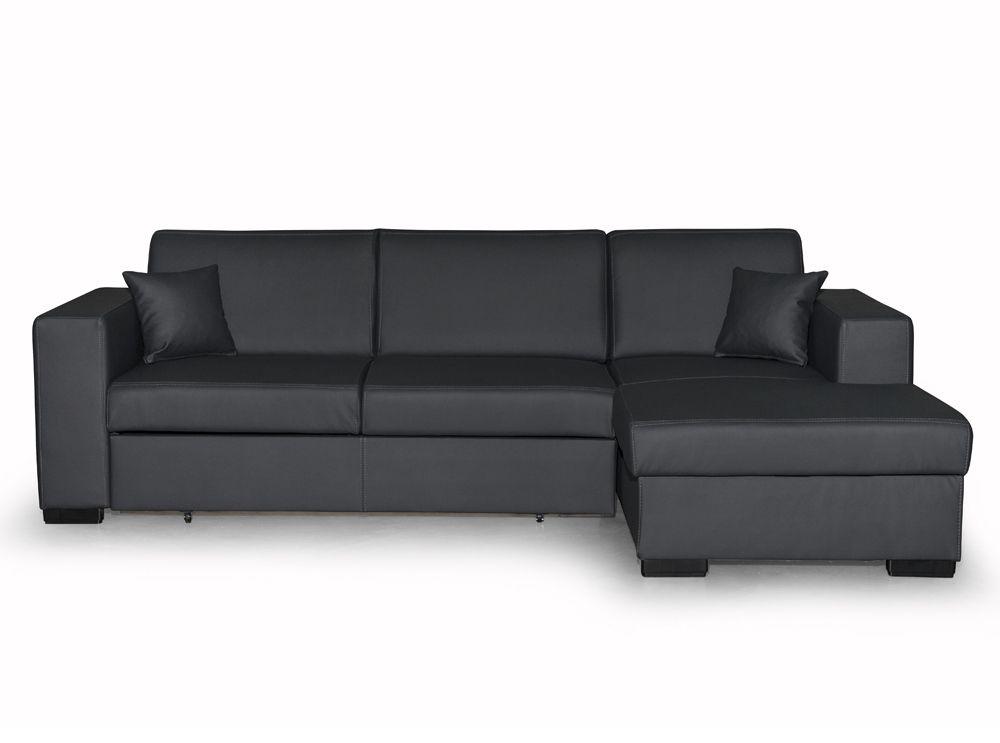 Canapé d angle FUJI XL convertible avec coffre en simili gris