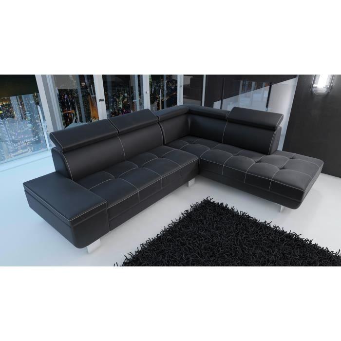 canapé d angle moderne DAYLON simili cuir noir design