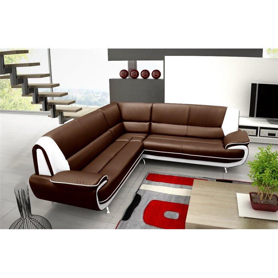 Canapé d'angle design en simili cuir noir et blanc forium
