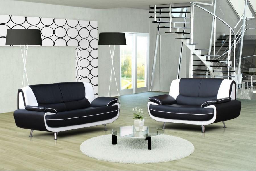 Canapé design 3 2 Bregga Noir Blanc Noir gris Blanc
