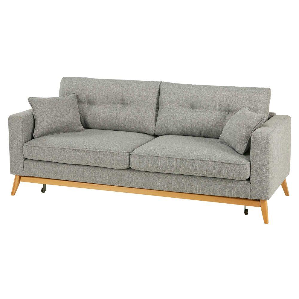 Canapé lit style scandinave 3 places gris clair Brooke