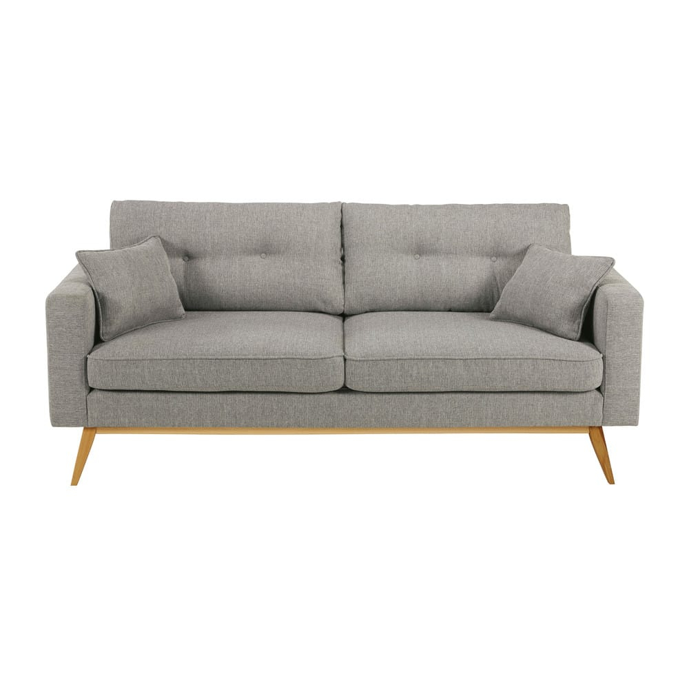 Canapé style scandinave 3 places gris clair Brooke