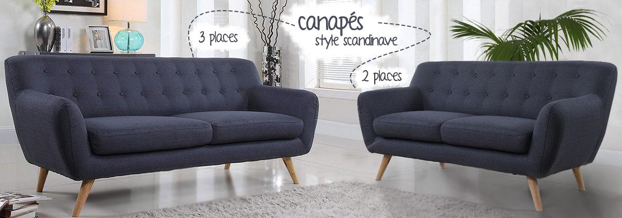 Canapés 2 ou 3 places au style scandinave Nozarrivages