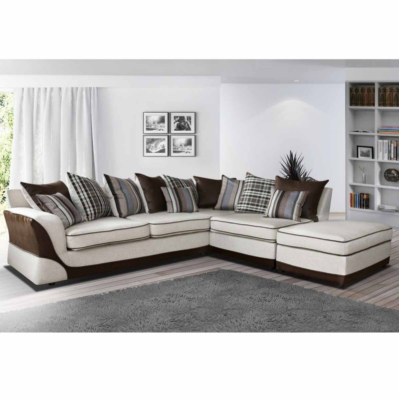 Canapé angle droit en tissu beige et marron Casablanca