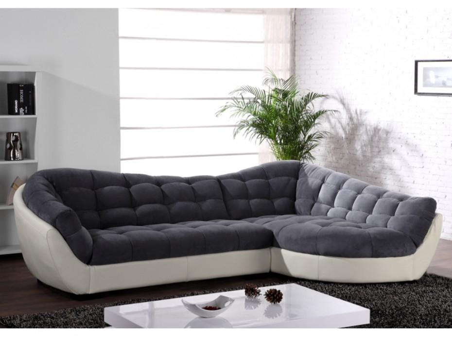 Canapé angle tissu et cuir 3 coloris bicolores LEANDRO