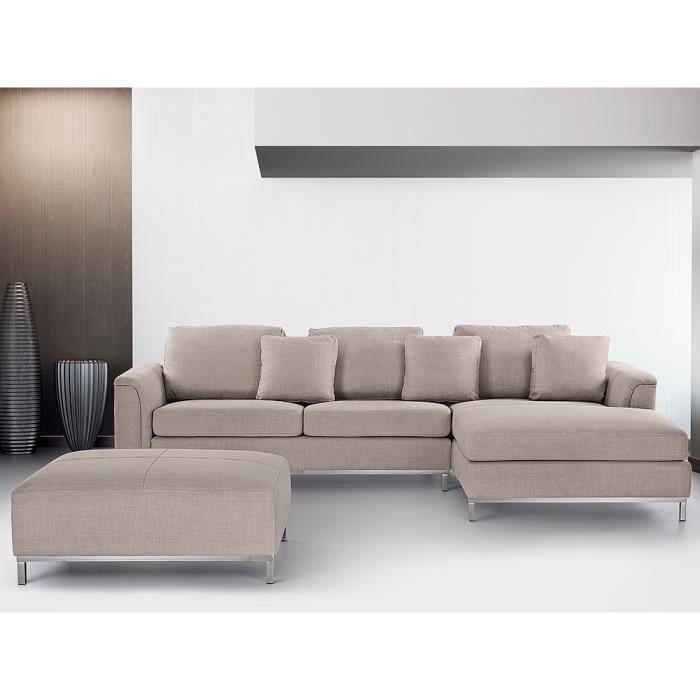 Canapé d angle canapé en tissu beige sofa Oslo Achat