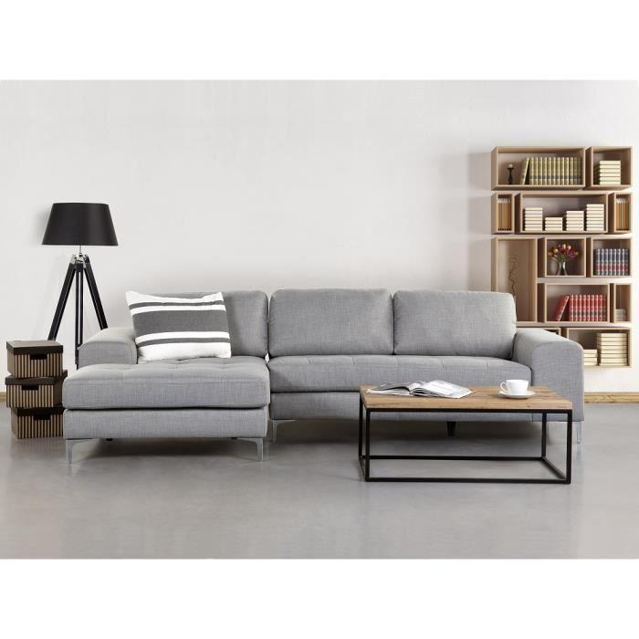 Canapé d angle canapé en tissu gris clair Kiruna
