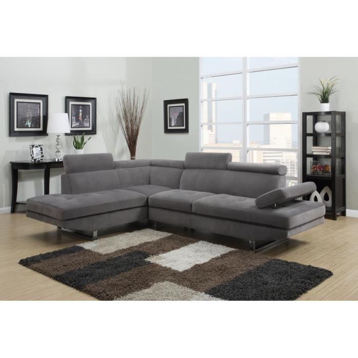 Canapé d angle design gris tissu avec repose têtes Achat