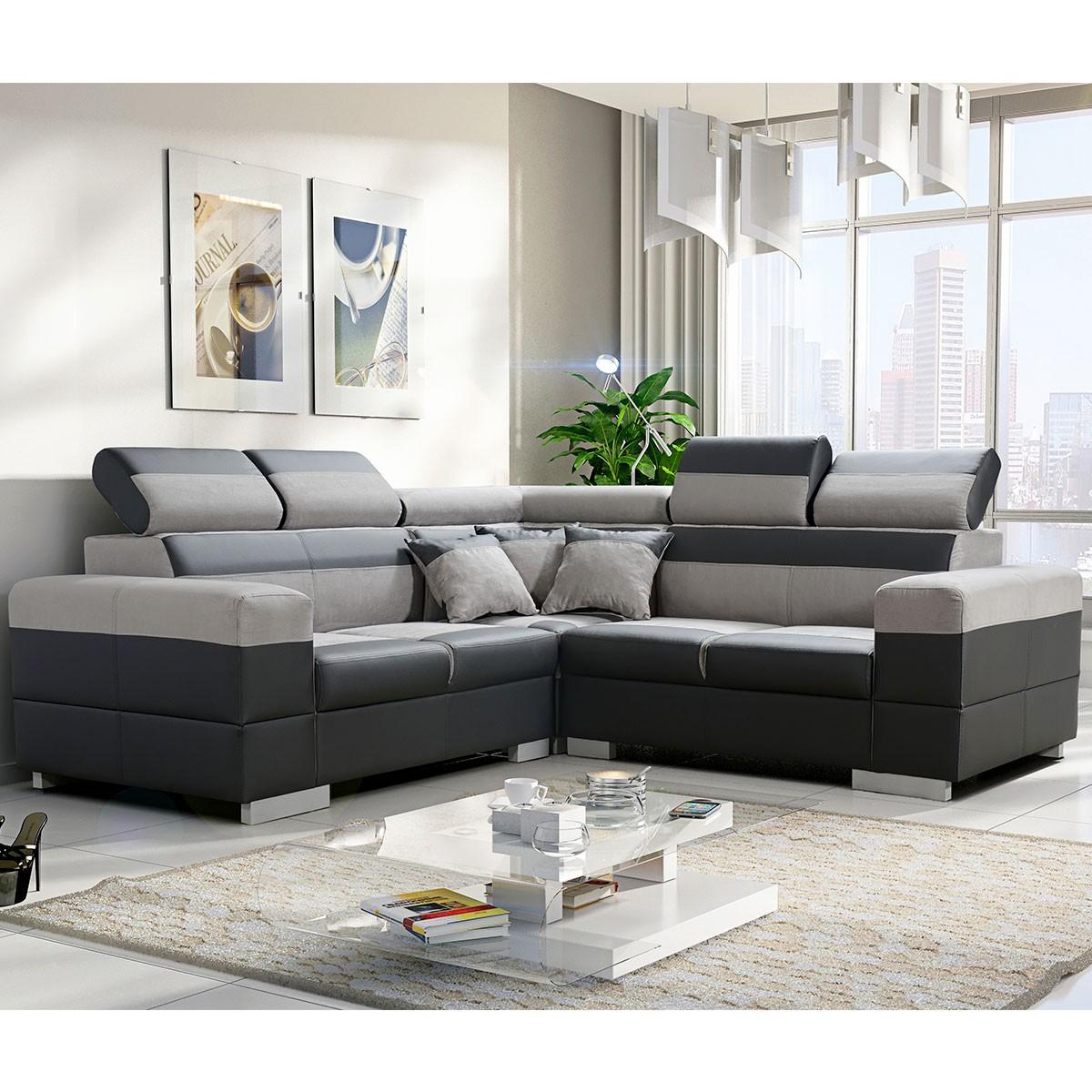 Canapé d angle réversible tissu gris polyester PVC