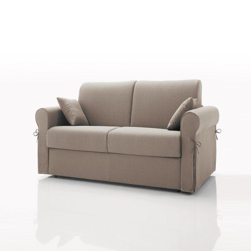 Canapé convertible 2 places tissu déhoussable beige