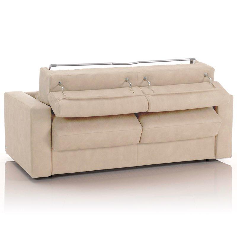 Canapé convertible 3 places tissu déhoussable écru