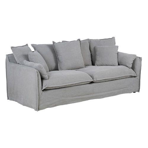 Canapé en tissu lin déhoussable 3 places Cosy Hanjel