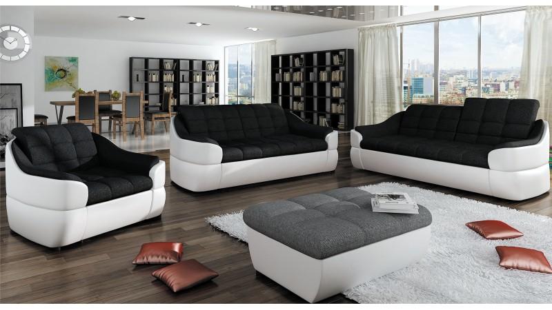 Canapé 2 places design en tissu et simili cuir Hope