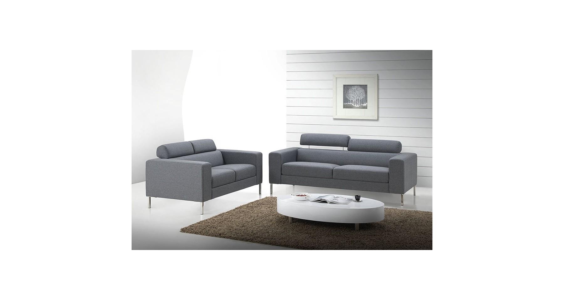 Canapé 2 places design en tissu gris clair Emily