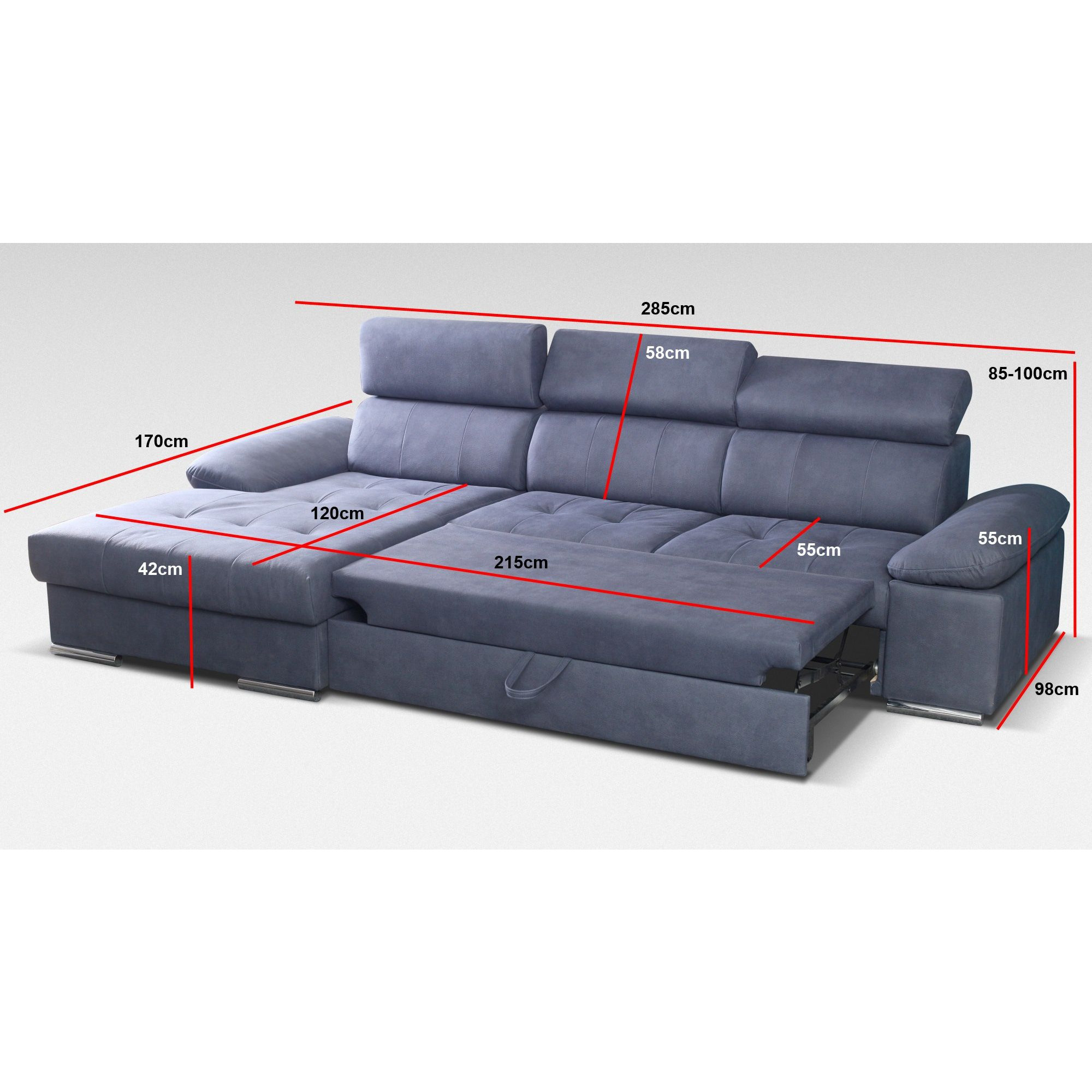 Canapé d angle convertible design avec méri nne droite