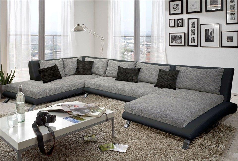Canapé d angle design LUBERON en PU et tissu coloris noir