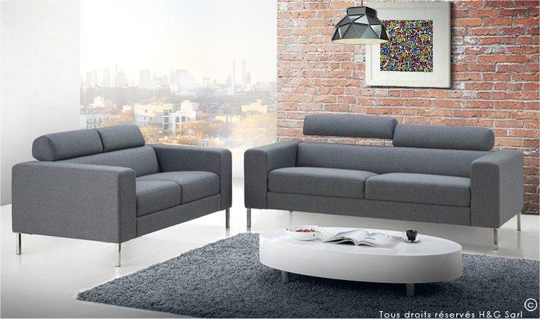 Canapé en tissu gris design 2 places style moderne