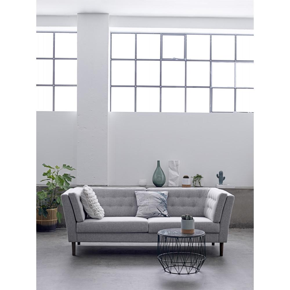 Canapé vintage tissu capitonné gris clair 3 places Pause