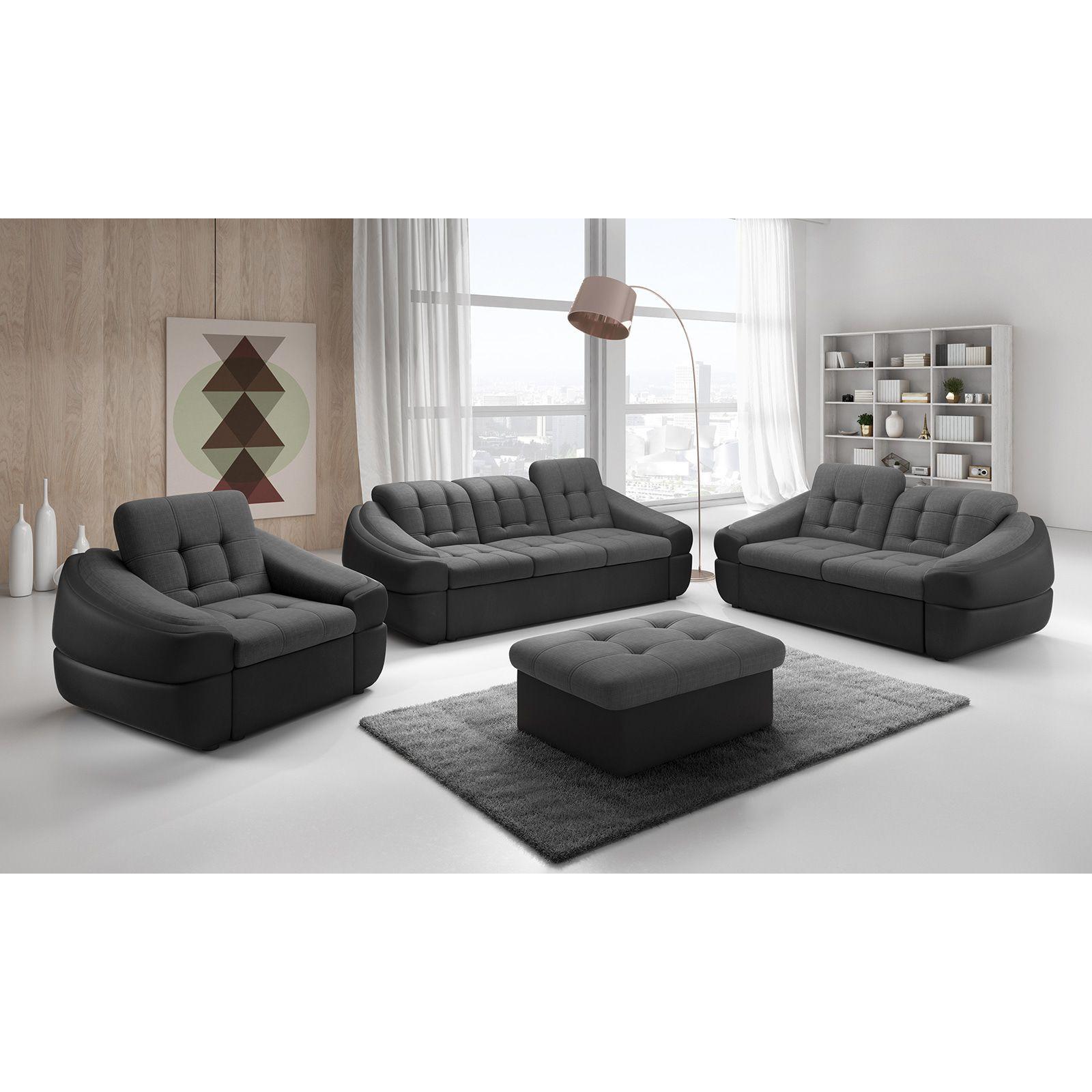 Salon Canapé 3 places ultra design en tissu gris foncé et