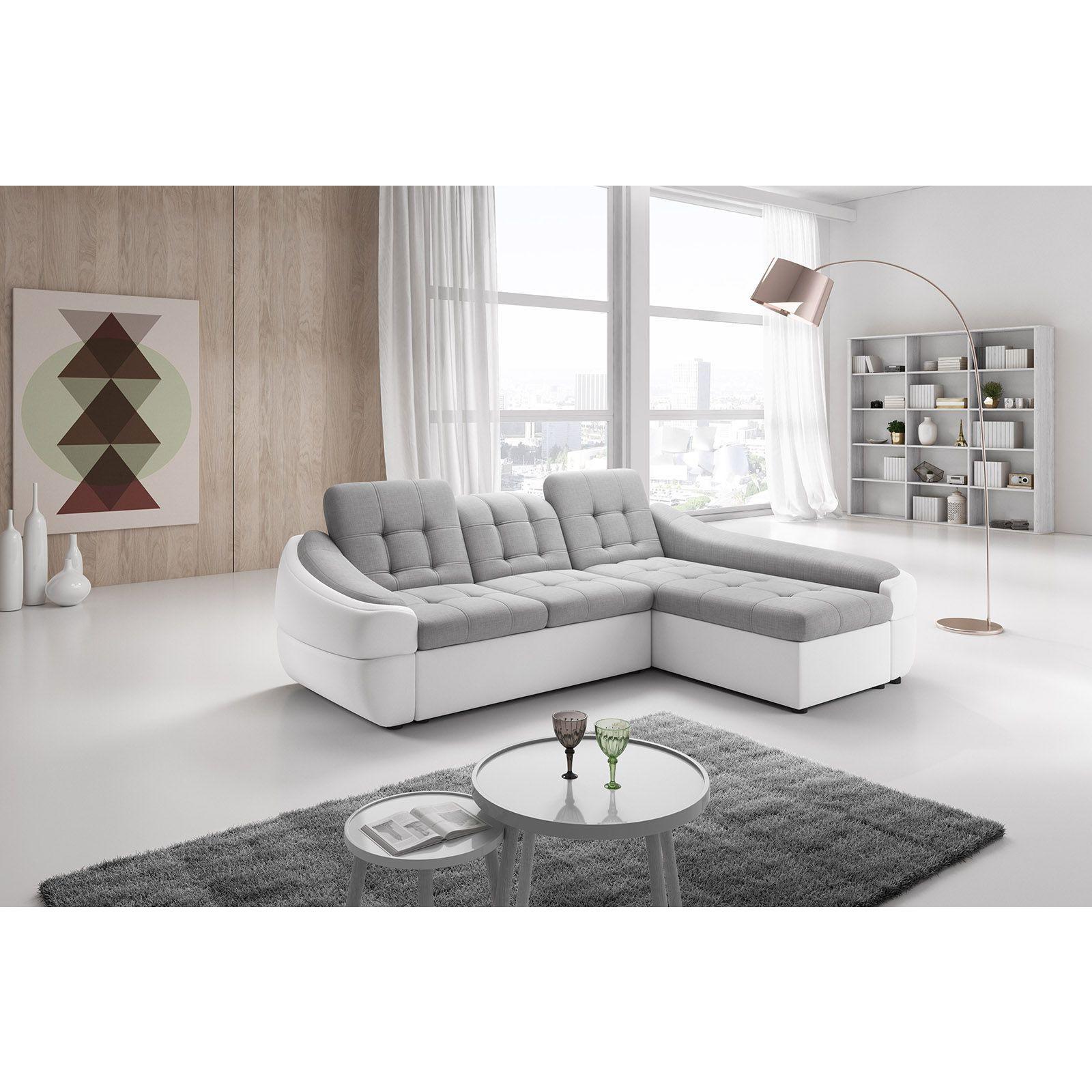 Salon Canapé design en tissu et simili cuir avec