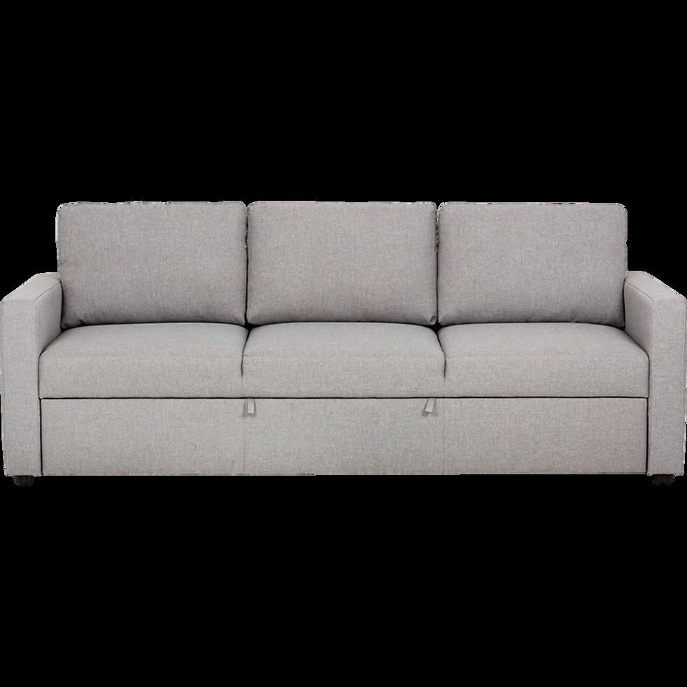 Canapé 3 places convertible en tissu gris chiné TINO