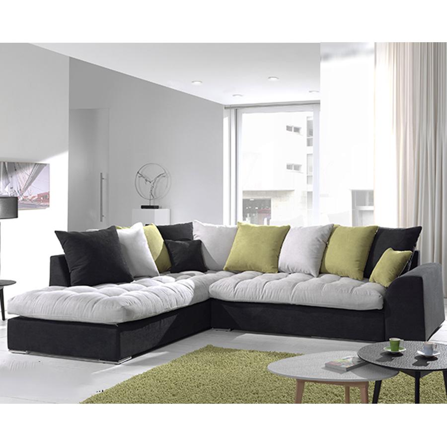 Canapé angle gris et noir en tissu