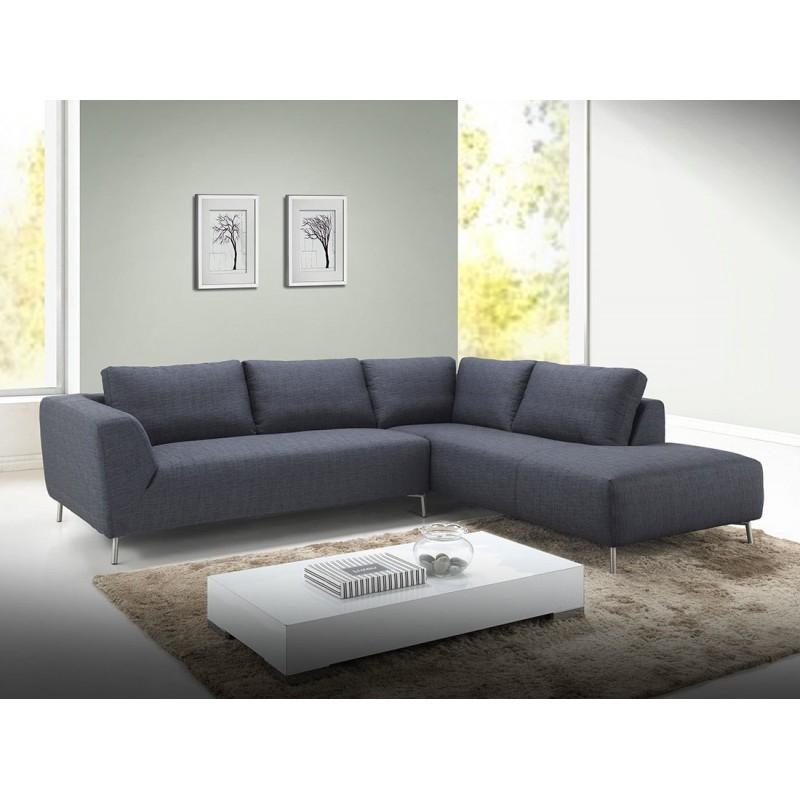 Canapé d angle moderne Louna tissu gris Atout Mobilier