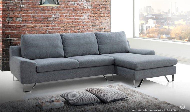 Canape design en tissu gris tendance et pas cher KENT