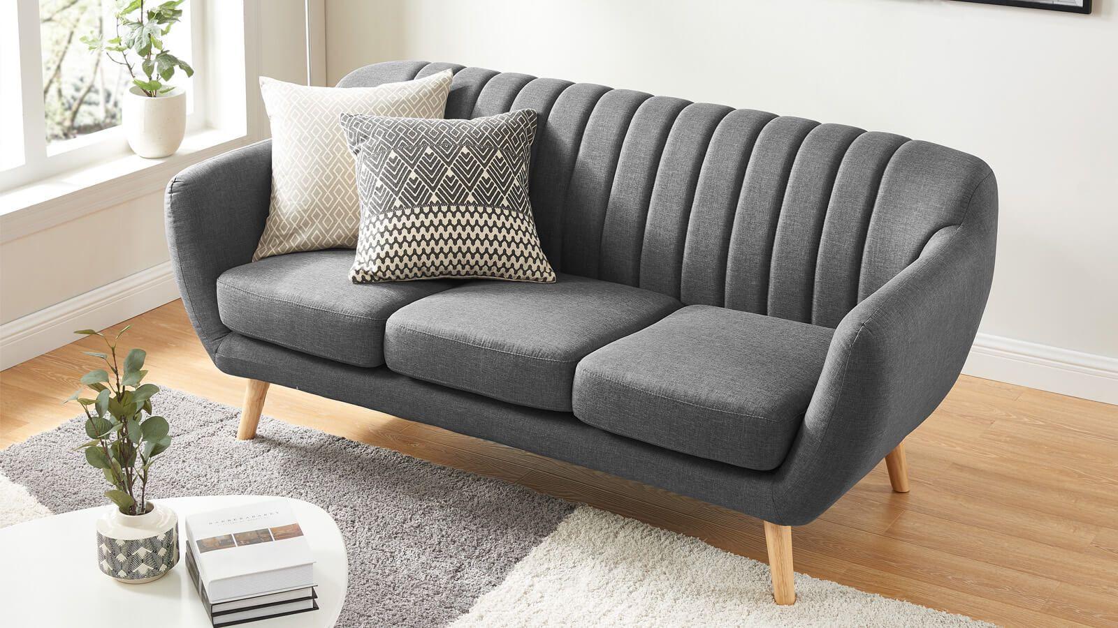 Canapé scandinave 3 places en tissu gris Collection Odda