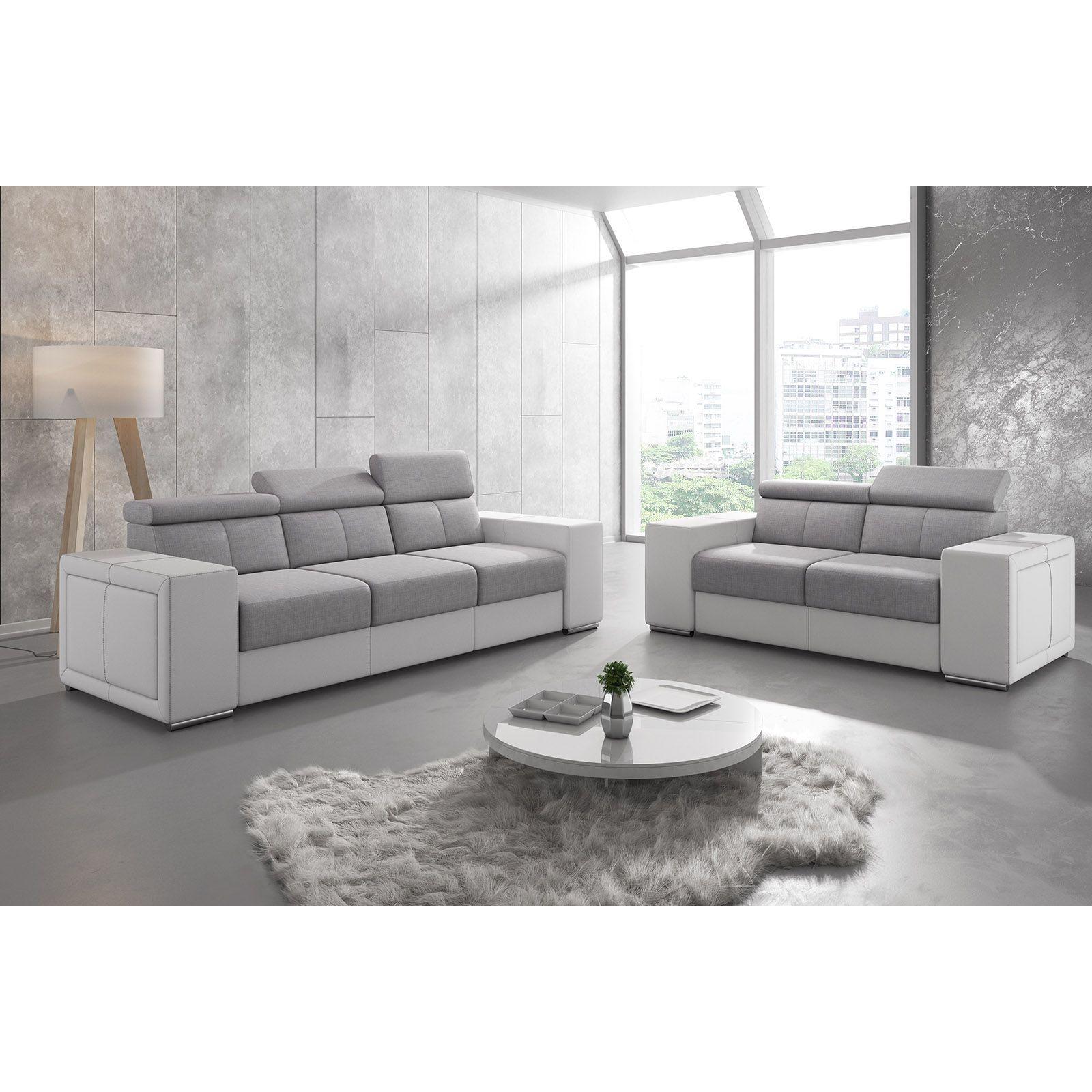 Salon Canapé moderne 3 places en tissu gris clair et