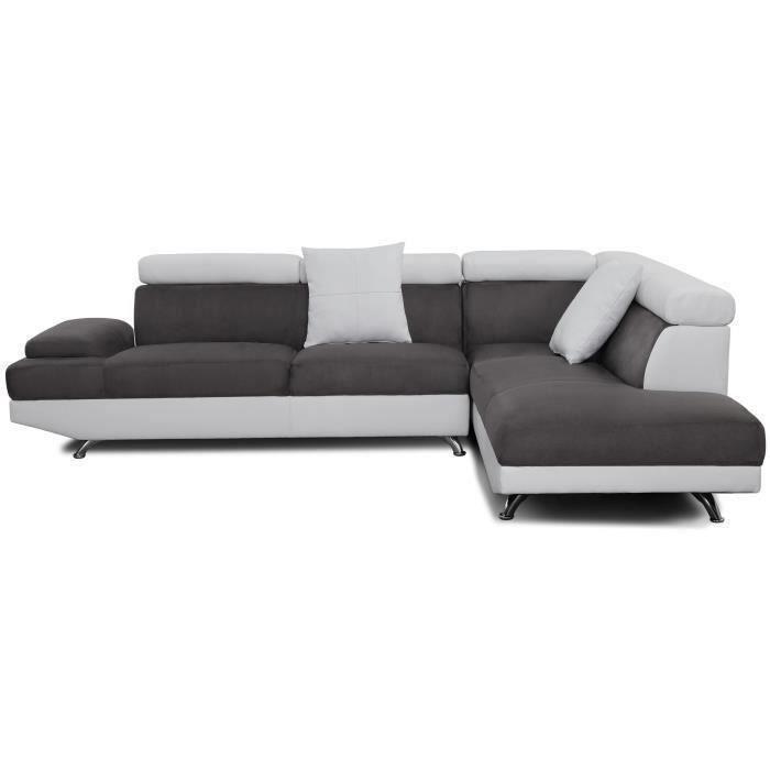 SCOOP Canapé d angle droit 4 places Tissu gris et simili