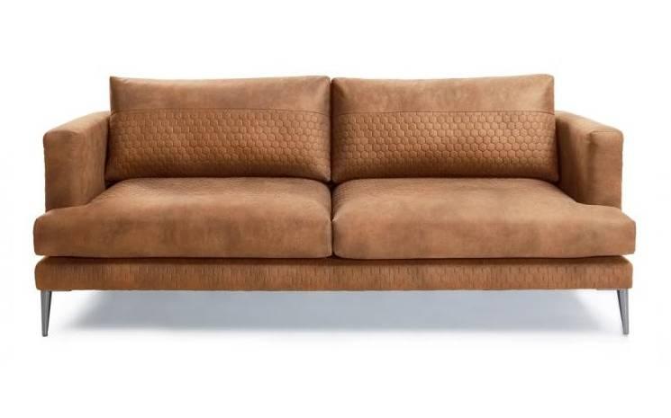 Canapé 3 places en tissu rembourré et pieds metal