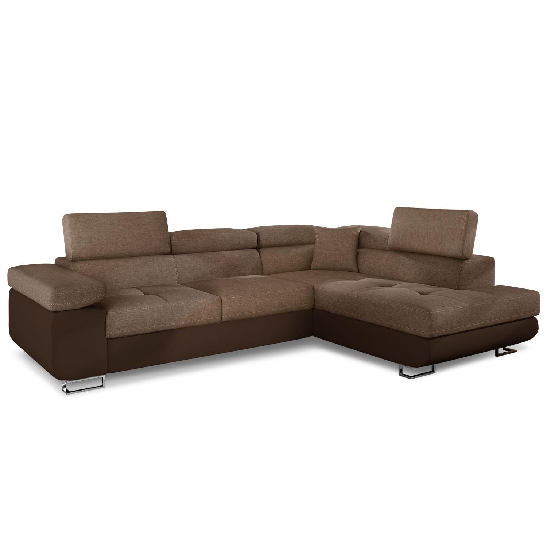 Canapé angle droit avec têtière simili marron et tissu