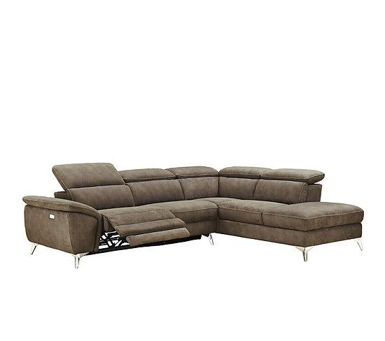 Canapé angle droit relax électrique NEWPORT tissu marron