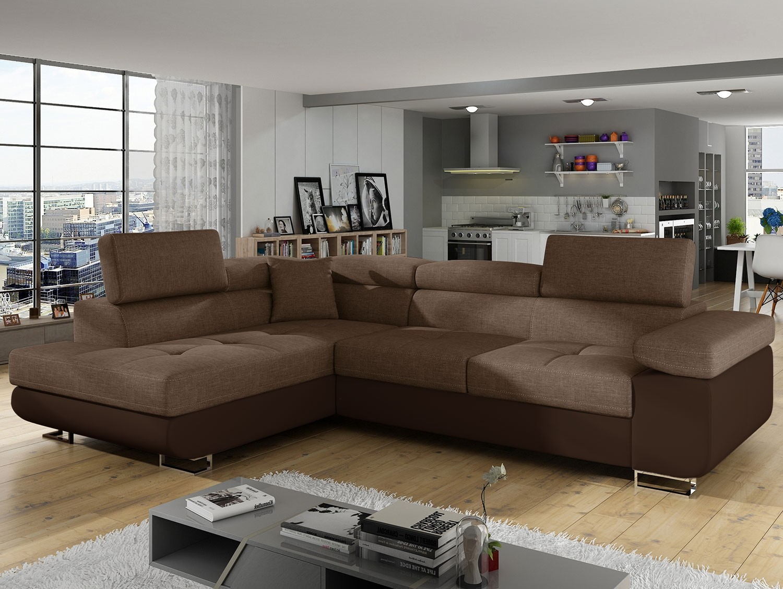 Canapé angle gauche avec têtière simili marron et tissu