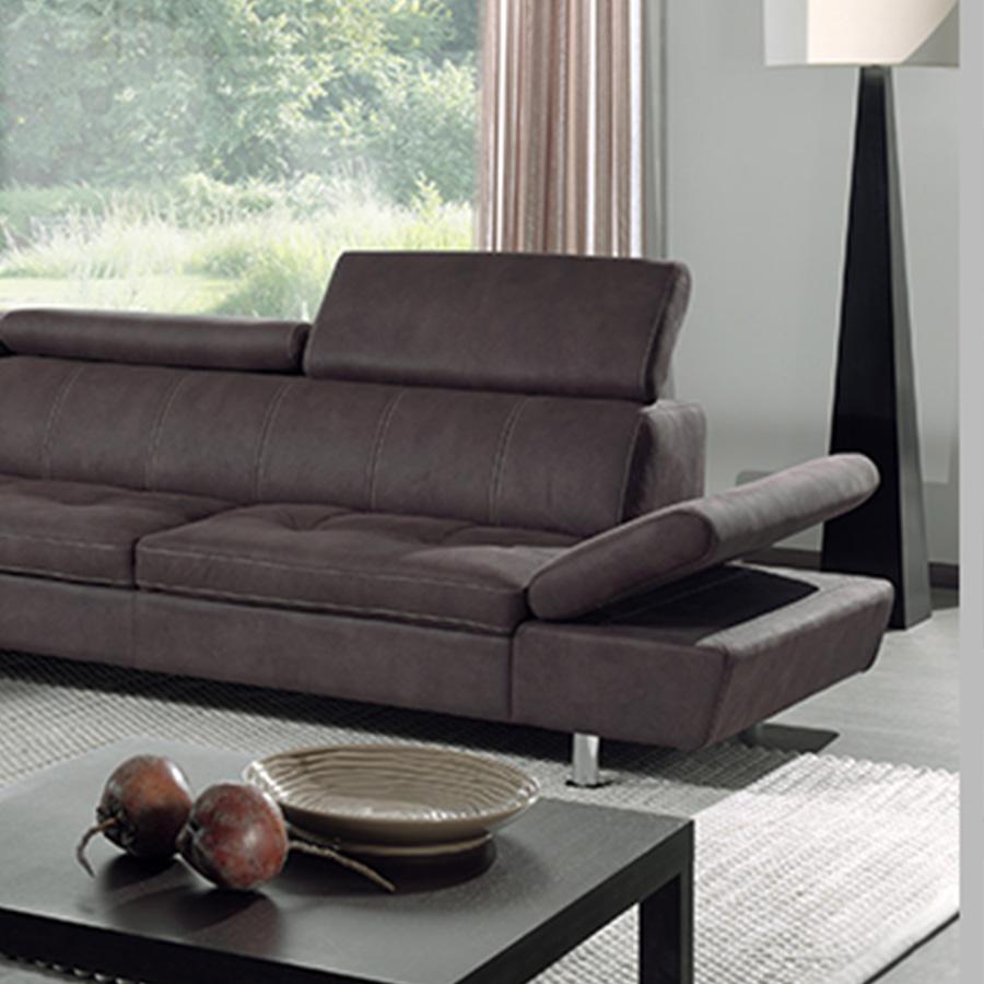 Canapé angle marron en tissu