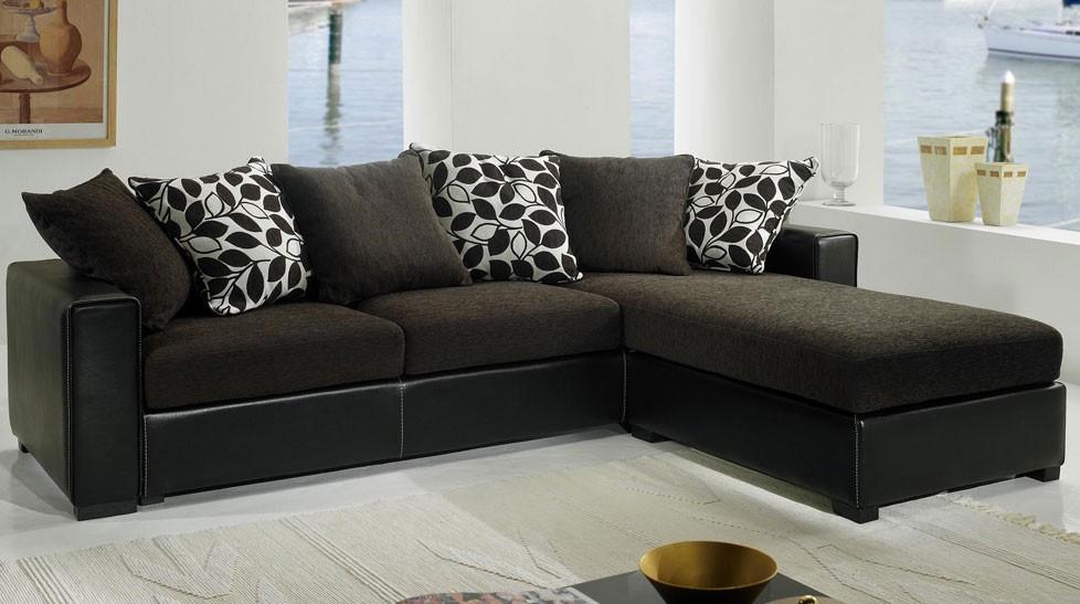 Canapé d angle tissu marron et noir pas cher Canapé tissu