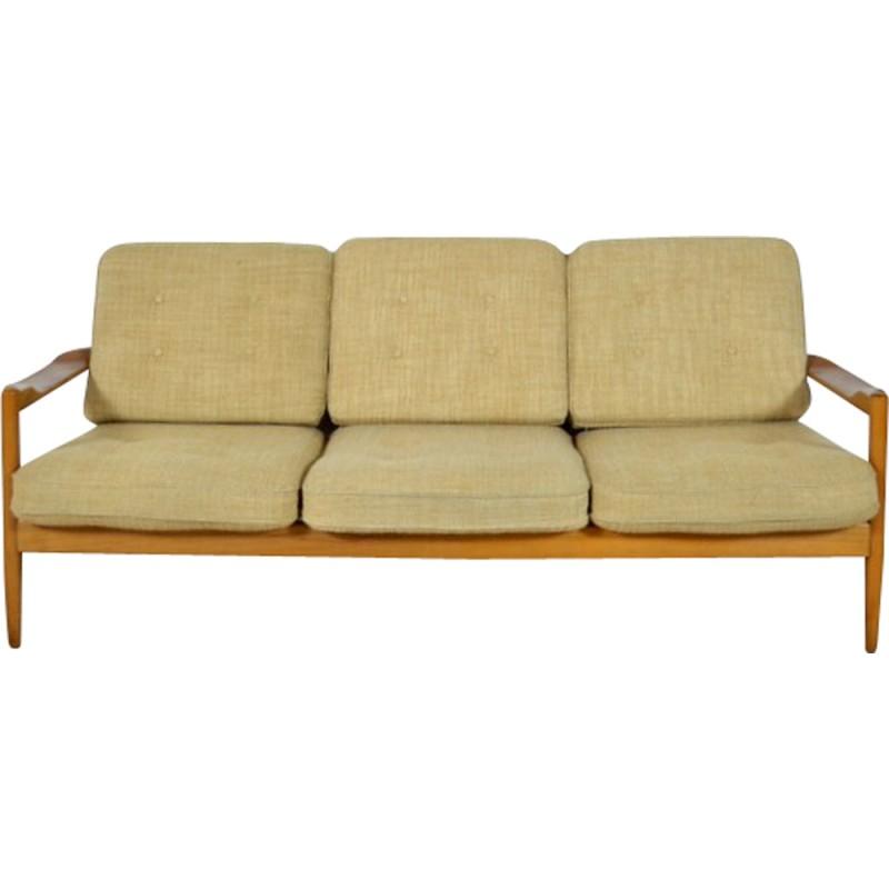 Canapé 3 places scandinave en bois blond et tissu 1960