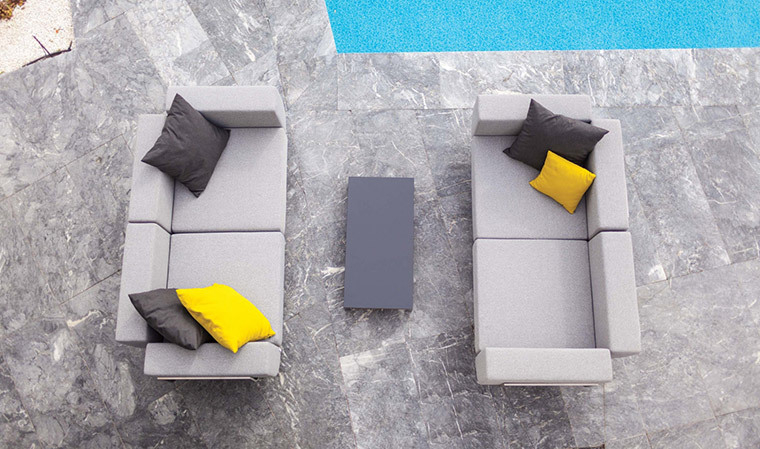 Canapé de luxe 2 places en inox brossé et tissu Lotos