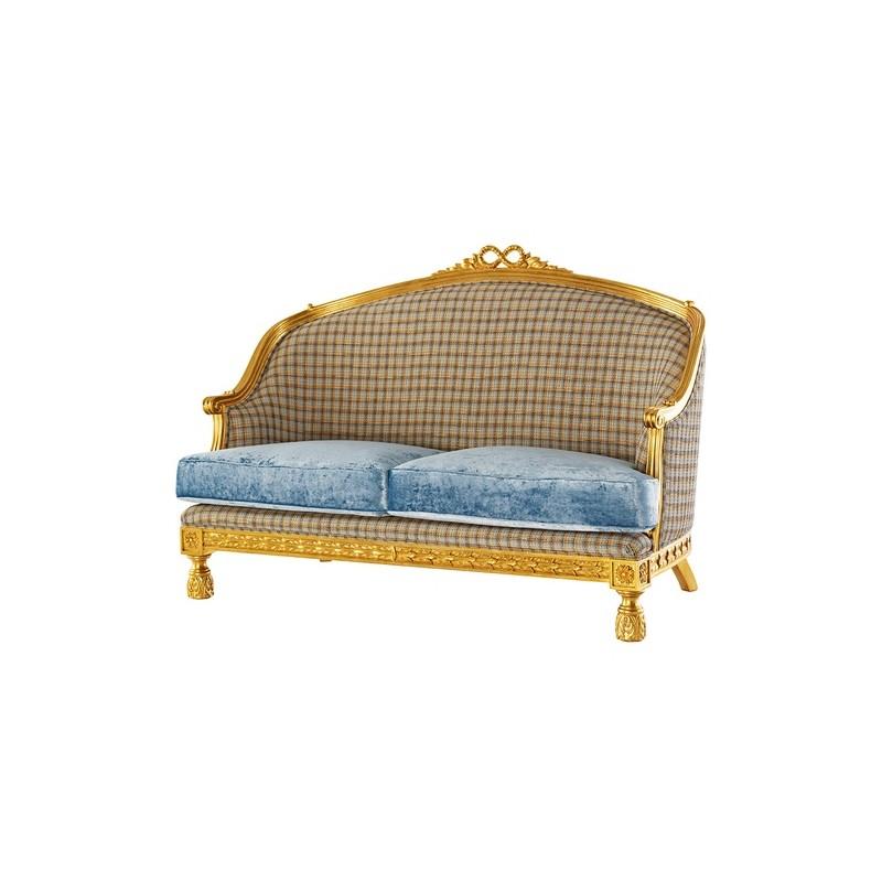 Canapé de luxe 2 places tissu velour Bleu Venize