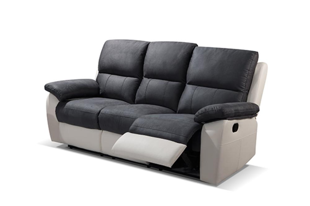 Canapé 3 places 2 relax manuel Delhi Luba gris foncé pu