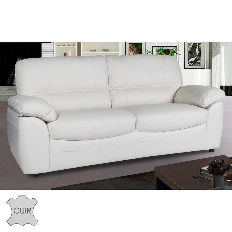 Canapé 3 places fixe en cuir blanc