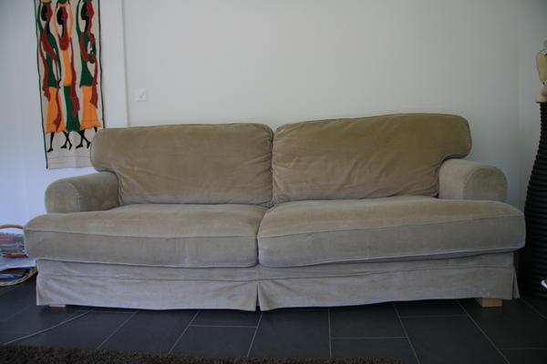 Canapé 3 places en velours beige