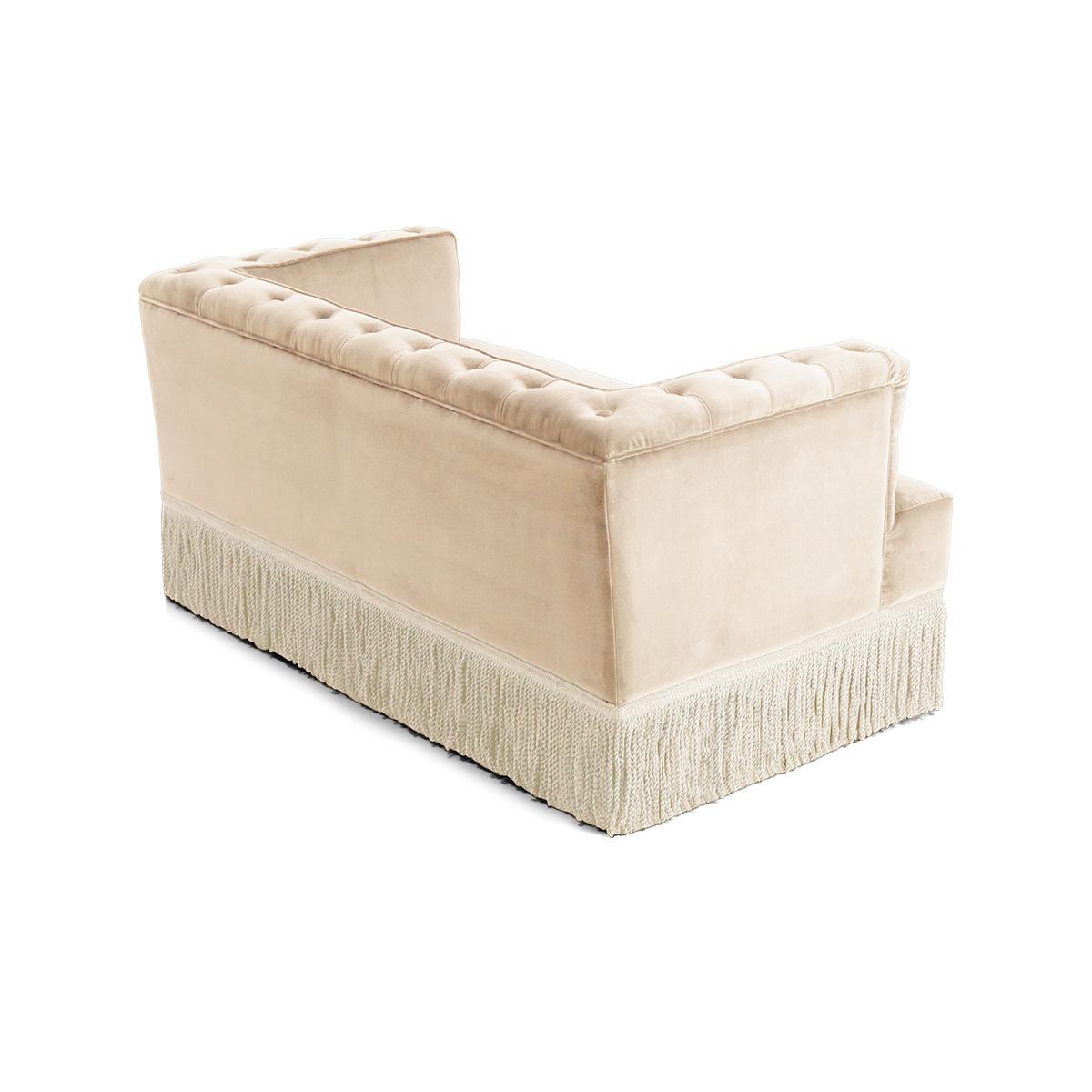 Canapé à franges en velours beige Nonna Disponible en