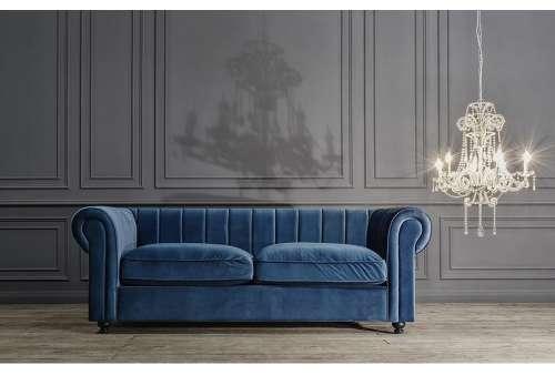 canapé bleu chesterfield en velours moderne vical home