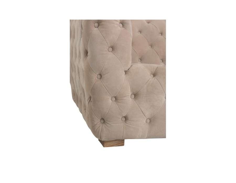 canapé capitonné de 239 cm beige clair en velours