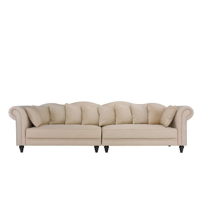 MORGANE Canapé Chesterfield double extra large Velours