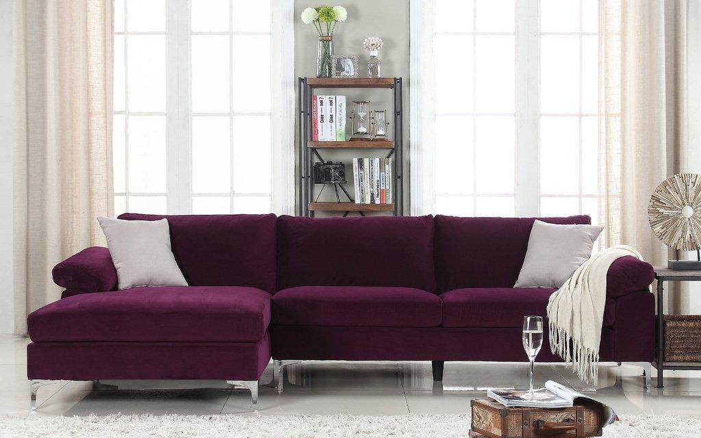 AMANDA – Canapé d'angle moderne 5 places – Tissu Velours